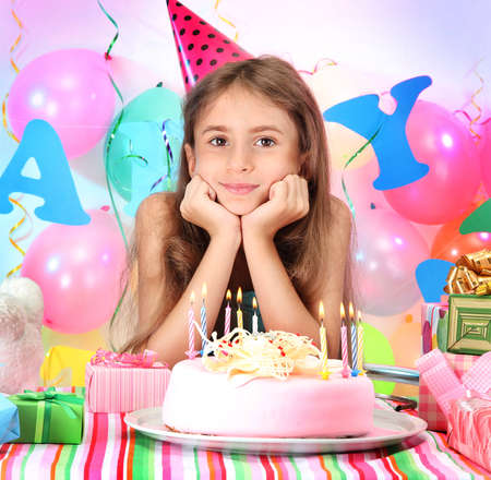 birthday party kids: Little beautiful girl celebrate her birthday
