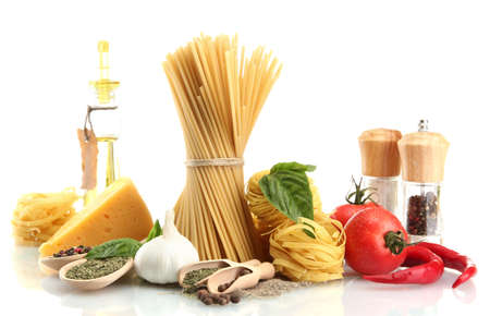 Pasta spaghetti, vegetables, spices and oil, isolated on white Stock Photo - 15241418