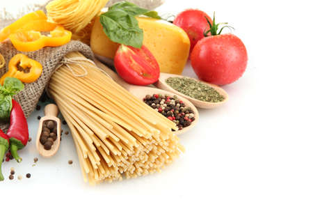 Pasta spaghetti, vegetables and spices, isolated on white Stock Photo - 15256498