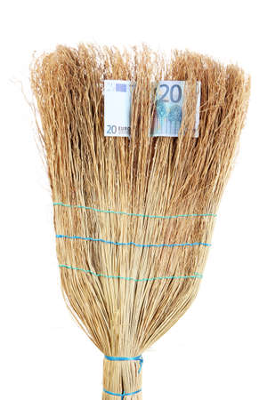 Broom sweep the euro close-up photo