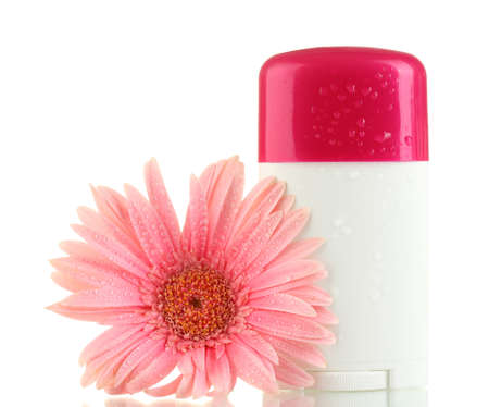 deodorant: deodorant with flower isolated on white