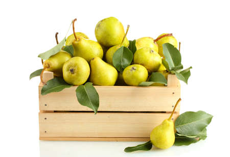 pear: Juicy flavorful pears in box isolated on white Stock Photo