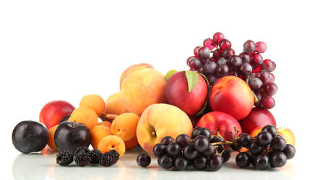 plum: Ripe fruit and berries isolated on white Stock Photo