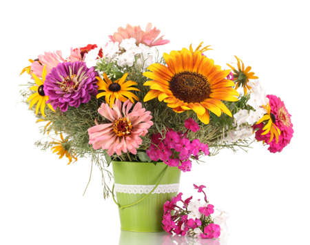 mixed flower bouquet: Beautiful bouquet of bright flowers in pail isolated on white