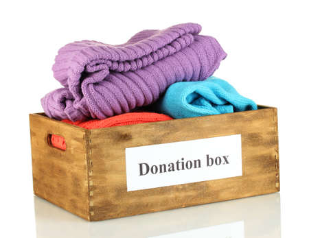 Donation box with clothing isolated on white Stock Photo - 15411194