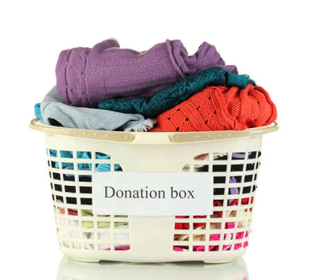 Donation box with clothing isolated on white Stock Photo - 15411056