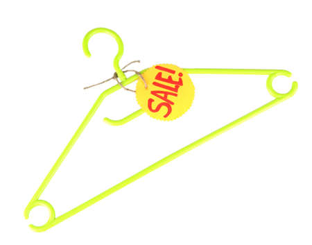 clotheshanger: coat hanger with sale tag isolated on white background Stock Photo