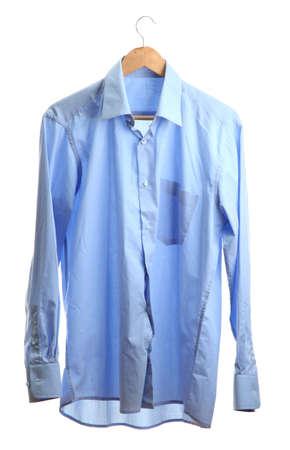 blue shirt on wooden hanger isolated on white Stock Photo - 15411067