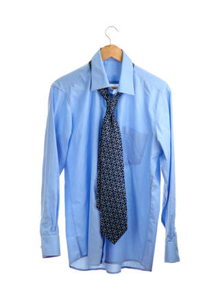 blue shirt with tie on wooden hanger isolated on white Stock Photo - 15411007