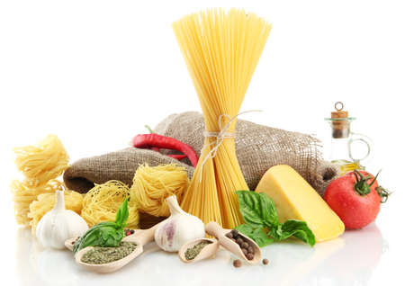 Pasta spaghetti, vegetables and spices, isolated on white Stock Photo - 15385046