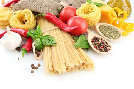 Pasta spaghetti, vegetables and spices, isolated on white Stock Photo - 15385734