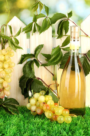 a bottle of wine on the fence background close-up Stock Photo - 15374639