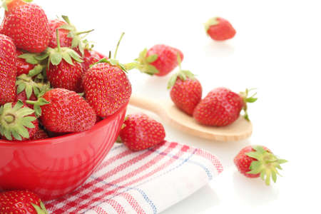 sweet ripe strawberries in bowl isolated on white Stock Photo - 15414513