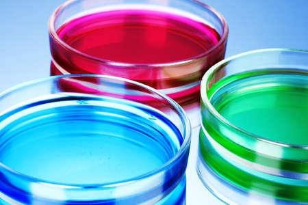 petri dish: color liquid in petri dishes on blue background