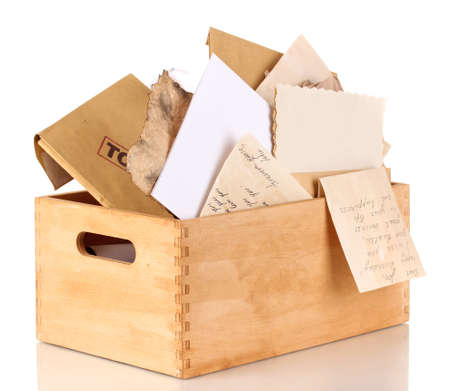 Wooden crate with papers and letters isolated on white Stock Photo - 15424381