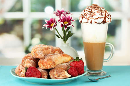delicious bagels and fresh coffee on the table close-up Stock Photo - 15424535