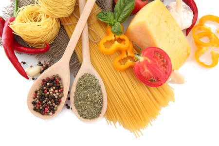 Pasta spaghetti, vegetables and spices, isolated on white Stock Photo - 15444060
