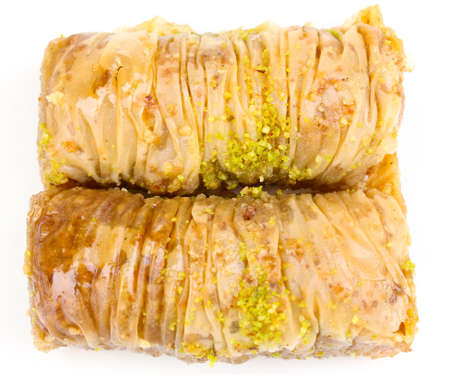 Sweet baklava isolated on white photo