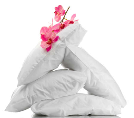 pillows and flower, isolated on white Stock Photo - 15455543
