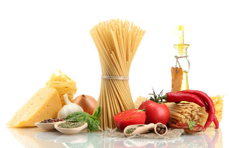 Pasta spaghetti, vegetables, spices and oil, isolated on white Stock Photo - 15473763