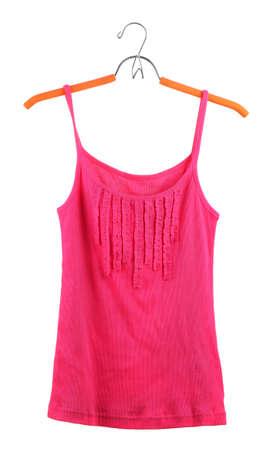 shirt hanger: singlet on hanger, isolated on white  Stock Photo