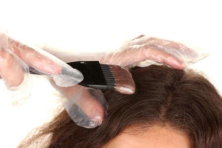 tinte de cabello: la coloraci�n del cabello, en el fondo blanco Foto de archivo