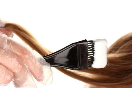 tinte cabello: la coloración del cabello, en el fondo blanco Foto de archivo