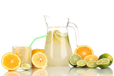 Citrus lemonade in pitcher and glass of citrus around isolated on white Stock Photo - 15455826