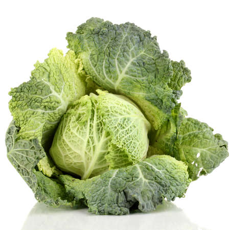 microelements: Fresh savoy cabbage isolated on white