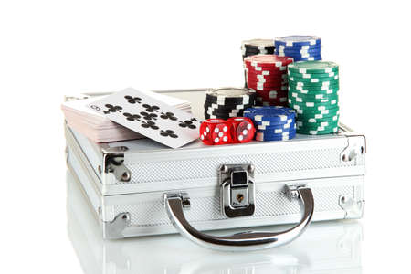 Poker set on a metallic case isolated on white background Stock Photo - 15537412