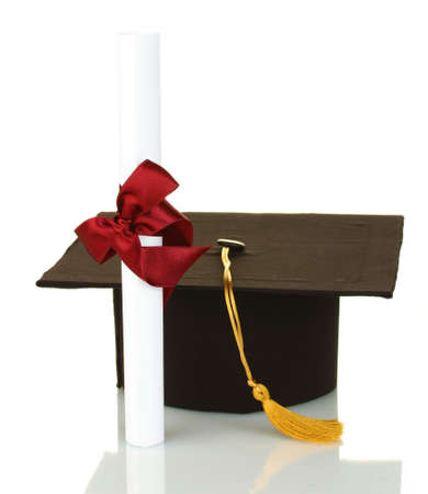 Grad hat and diploma isolated on white Stock Photo - 15536206