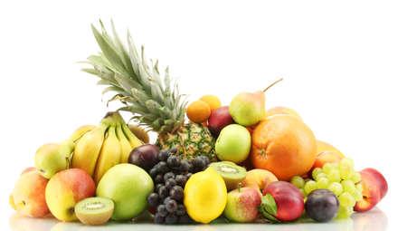 Assortment of exotic fruits isolated on white Stockfoto