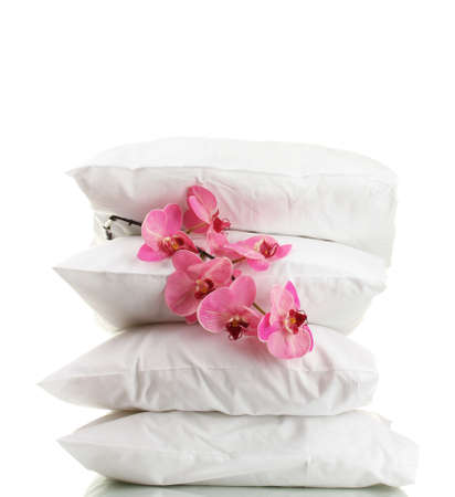 bedding: pillows and flower, isolated on white