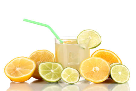 Citrus lemonade in glass of citrus around isolated on white Stock Photo - 15536394