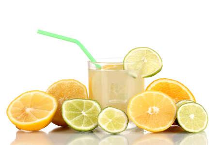 Citrus lemonade in glass of citrus around isolated on white Stock Photo - 15536394