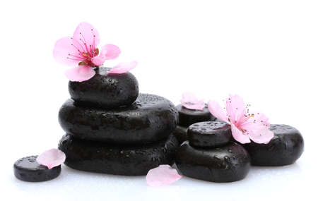 Spa stones with drops and pink sakura flowers isolated on white Stock Photo - 15536336