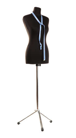 tailor measuring tape: empty black mannequin with measuring tape isolated on white