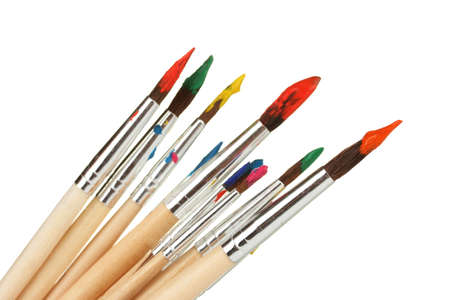 brush painting: Paint brushes with gouache isolated on white Stock Photo