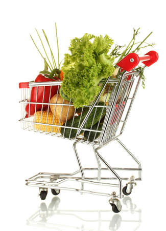 Fresh vegetables in metal trolley isolated on white background Stock Photo - 15584583