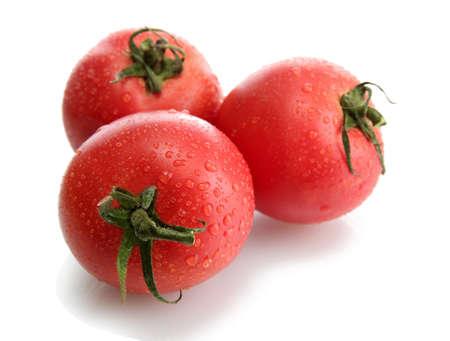 pomidory: Świeże pomidory na białym