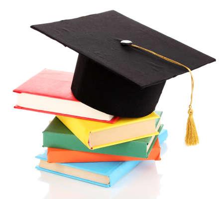fondo de graduacion: Sombrero de Grad con los libros aislados en blanco