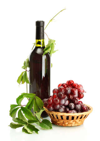 bottle of wine with grapes isolated on white Stock Photo - 15591514