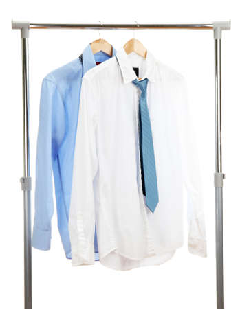 blue and white shirts with tie on wooden hanger isolated on white Stock Photo - 15614166
