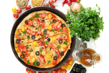 colorful composition of delicious pizza, vegetables and spices on white background close-up Stock Photo - 15642340
