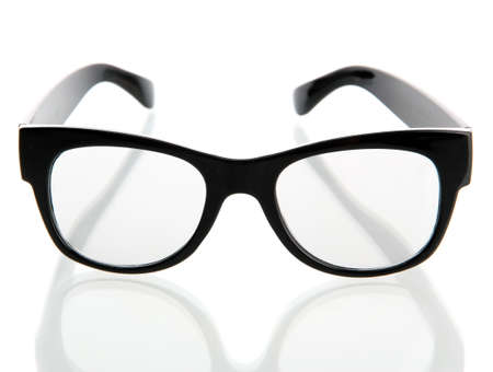 wearing spectacles: black glasses, isolated on white