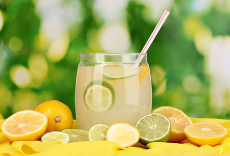 Citrus lemonade in glass bank of citrus around on yellow fabric on natural background Stock Photo - 15642055