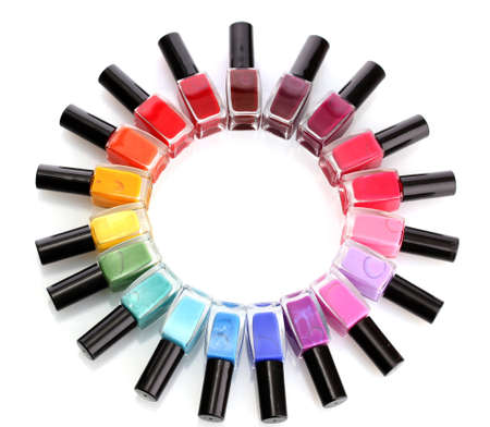 manicure and pedicure: Group of bright nail polishes isolated on white