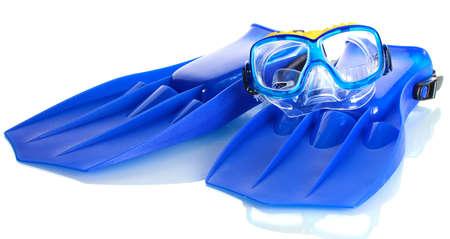 flippers: aletas y m�scara azul aislado en blanco Foto de archivo