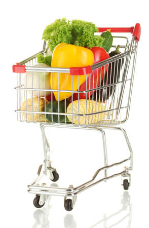 Fresh vegetables in metal trolley isolated on white background photo