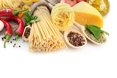 Pasta spaghetti, vegetables and spices, isolated on white Stock Photo - 15684330